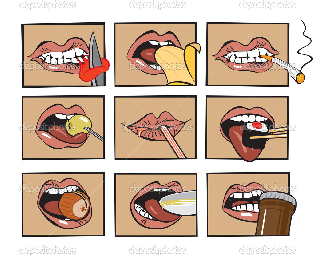 Set of nine mouths eat different foods — Stock Vector #10217244