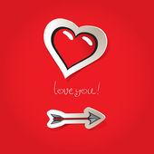 Arrow and a heart — Stock Vector