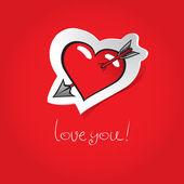 Coração em fundo vermelho — Vetorial Stock