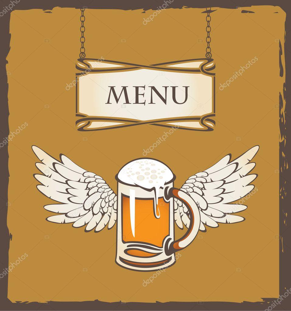 Бокал пива и крылья стоковая