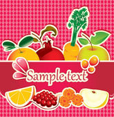 Juices and fresh fruit — Stock Vector