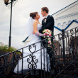 The bride and groom look at each other — Stock Photo #10070813