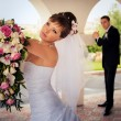 The bride looks into the distance — Stock Photo #9976321