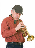 Jazzman, trumpeter plays a trumpet — Stock Photo