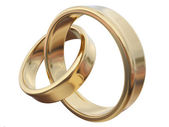 Gold rings isolated on white — Stock Photo