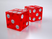 Two red glass dices — Stock Photo