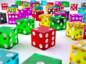 Colored glass dices — Stock Photo