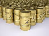 Filas de barriles de petróleo oro oxidado — Foto de Stock