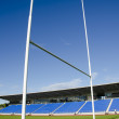 Rugby field and goalposts — Stock Photo