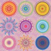 9-renkli mandalalar kümesi — Stok Vektör