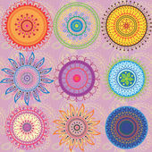 A set of 9-colored mandalas — Stock Vector