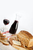 Bread, Cheese and Wine — Stock Photo