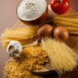 Stock Photo: Variety of dried pasta and ingredients