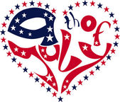 Calligraphy Fourth of July in heart — Stock Vector