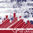 Background cityscape with fireworks and scribed Fourth of July. — Stock Vector #10198083