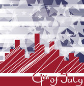 Background cityscape with fireworks and scribed Fourth of July. — Stock Vector