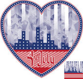 Heart shaped background Fourth of July in heart. No fonts were — Stock Vector