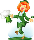 Dancing leprechaun with goblet of green beer. Colored — Stock Vector