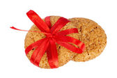 Cookies tied with red ribbon — Stock Photo