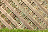 A pleasant sunny backyard with green grass and a nice wood fence. — Stock Photo