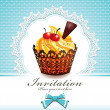 Cute cup cake with vintage design - Imagen vectorial