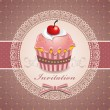 Vintage Cute cupcake design — Stock Vector #10478751