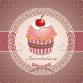 Vintage Cute cupcake design — Stock Vector