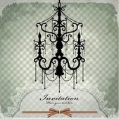 Luxury chandelier background with lace — Stock Vector