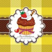 Vintage cupcake lindo diseño — Vector de stock