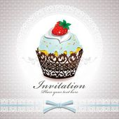 Vintage cute cupcake design — Stock Vector
