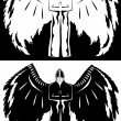 Stock Vector: Black and white angel
