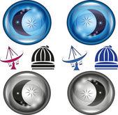 Botones brillantes con luna y estrellas — Vector de stock