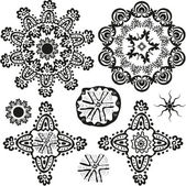 Indian style ornamental floral shapes — Stock Vector
