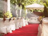 Свадьба красный ковер для алтаря — Стоковое фото