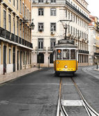 Old and Touristic Yellow Tram from Lisbon — Stock Photo