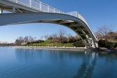 белый мост через реку — Стоковое фото