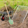 Stock Photo: Compost pile sieve 01