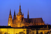 Prague cathedral night 01 — Stock Photo