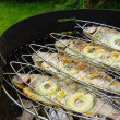 Stock Photo: Grilling trout 07