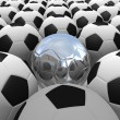 3D rendered soccer balls background. Concept of unique - Stock Photo