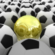 3D rendered soccer balls background. Concept of unique — Stock Photo #10095211