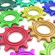 Coloured gears — Stock Photo
