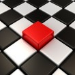 Red cube. Chess background. Concept of Unique. — Stock Photo #10096158