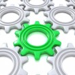 Stock Photo: Gears isolated on white. Concept of unique