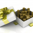 Gift box over white background with gold coins. 3d illustration. — Stock Photo