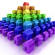 Pyramide from rainbow houses — Stock Photo