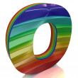 Letter O from fur rainbow alphabet — Stock Photo