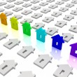 Rainbow house icons. Concept of unique — Stock Photo #10097893