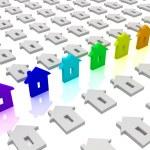 Rainbow house icons. Concept of unique — Stock Photo #10097894