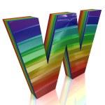 Letter W from fur rainbow alphabet — Stock Photo